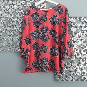 Laura Scott Sz L Flower Blouse